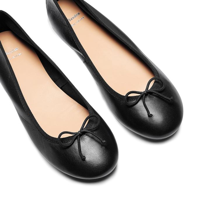 Ballerines en cuir bata, Noir, 524-6144 - 26