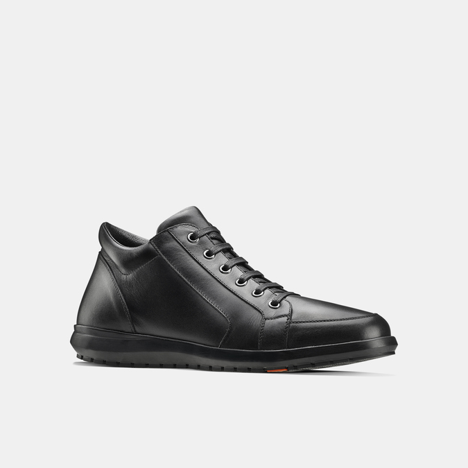 Tennis en cuir noir flexible, Noir, 844-6205 - 13
