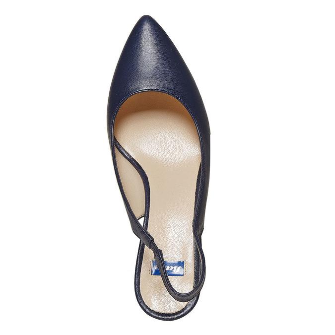 Escarpin en cuir ouvert à l'arrière bata, Bleu, 724-9677 - 19