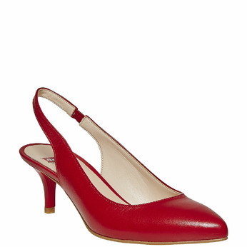 Escarpin pointu en cuir rouge bata, Rouge, 724-5677 - 13