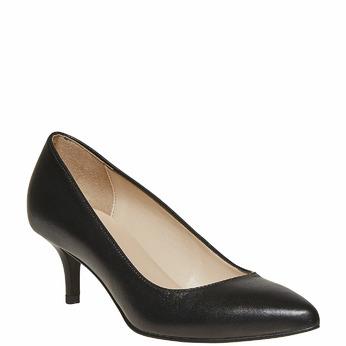 Escarpin noir en cuir bata, Noir, 724-6482 - 13