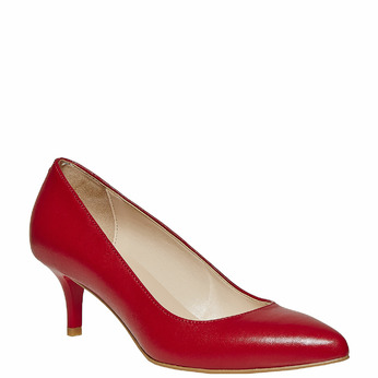 Escarpin rouge en cuir bata, Rouge, 724-5482 - 13