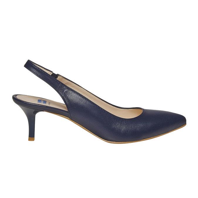 Escarpin en cuir ouvert à l'arrière bata, Bleu, 724-9677 - 15
