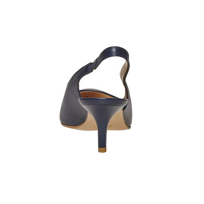 Escarpin en cuir ouvert à l'arrière bata, Bleu, 724-9677 - 17