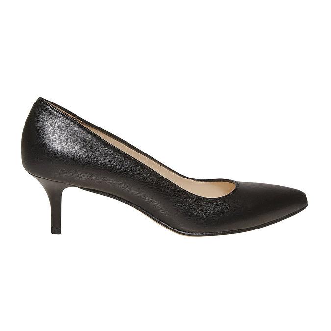 Escarpin noir en cuir bata, Noir, 724-6482 - 15