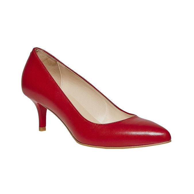 Escarpin rouge en cuir bata, Rouge, 724-5482 - 13